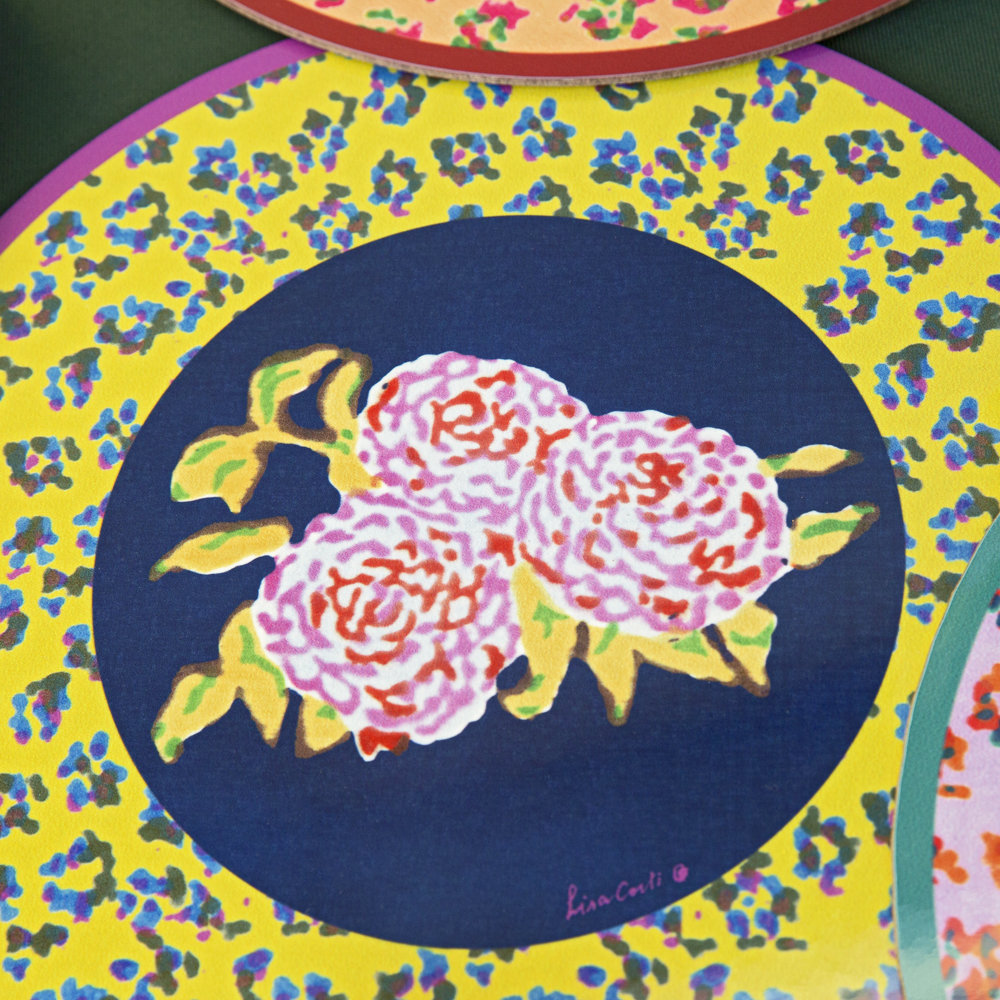 Lisa Corti - Leopard Flower Round Placemat - Yellow