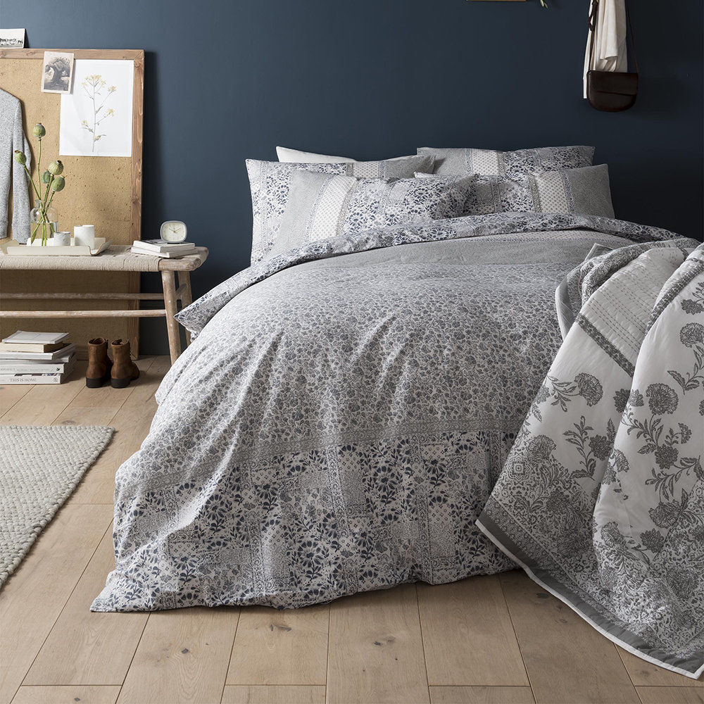 Fat Face - Floral Mosaic Quilt Cover - Pearl Blue - Double