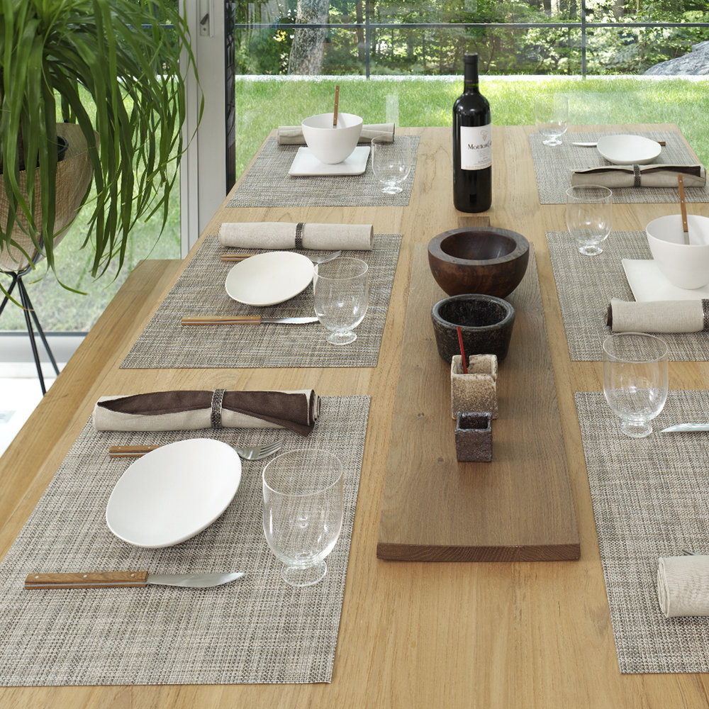Chilewich - Basketweave Rectangle Placemat - White/Silver