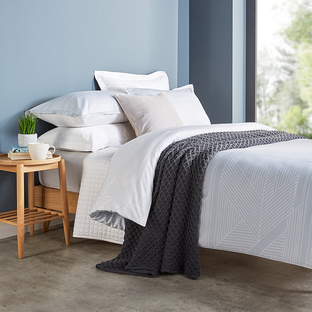 Christy - Deco Jigsaw Quilt Set - Mineral Blue - Double