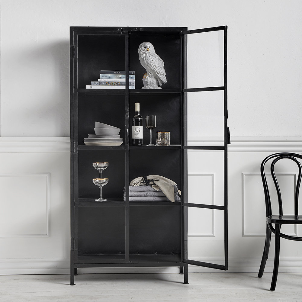 Buy Nordal Iron And Glass Cabinet With Doors Black Amara