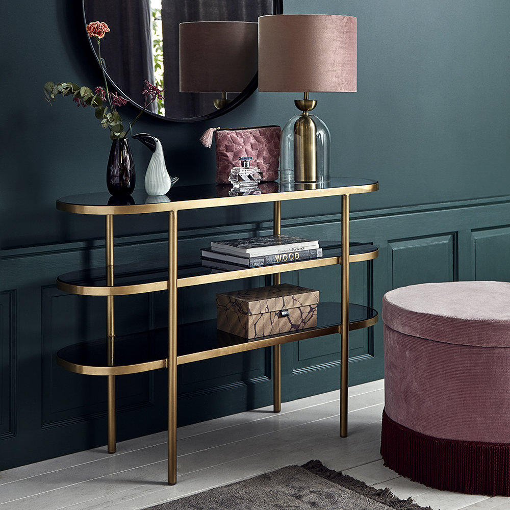 Nordal - Oval Console Table - Golden/Black