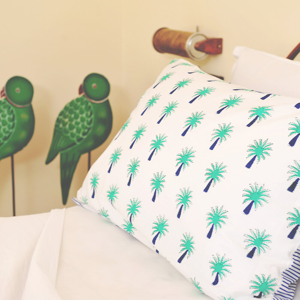 Lulu & Nat - Bedlinen Set in Bag - Turquoise Palm Tree - Double