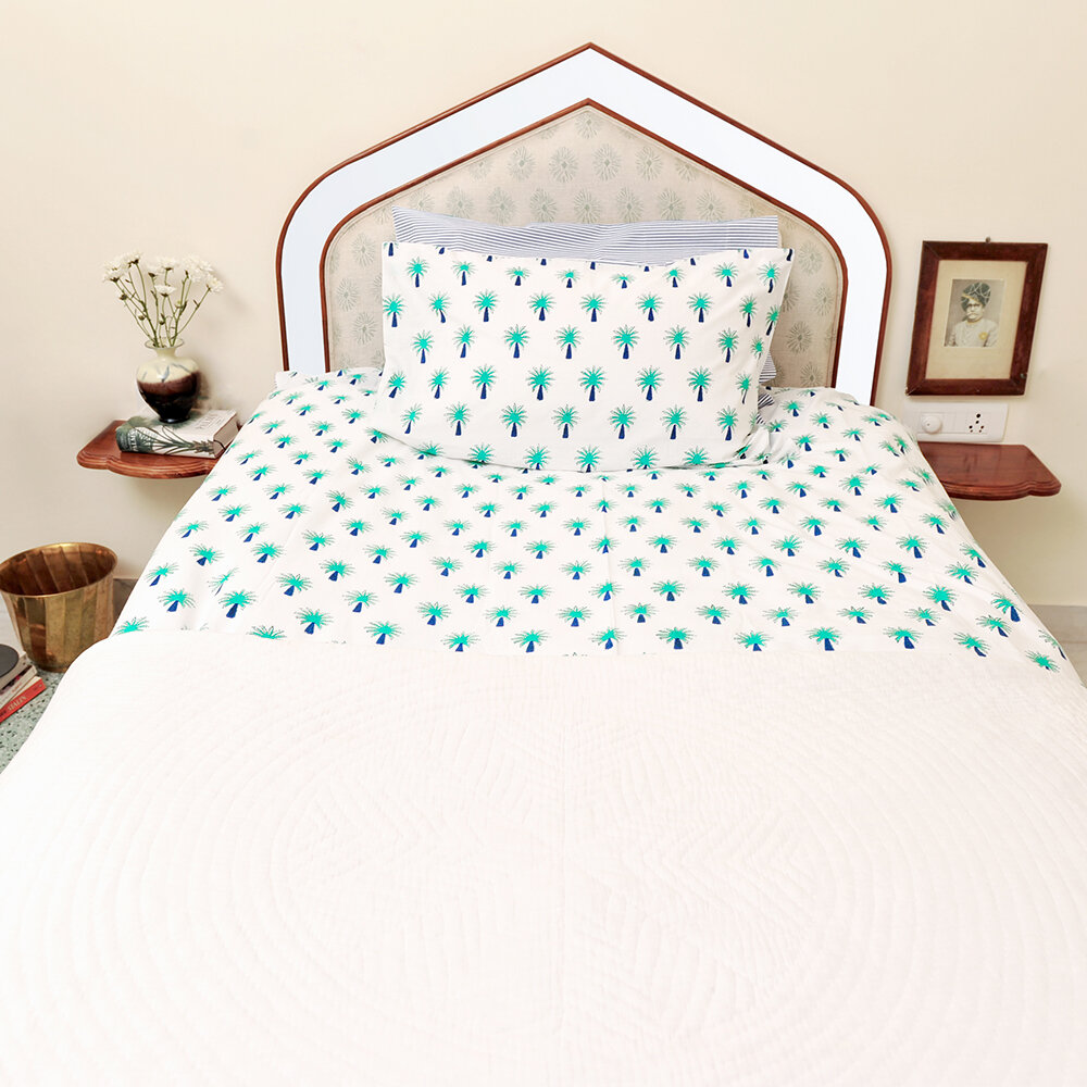 Lulu & Nat - Bedlinen Set in Bag - Turquoise Palm Tree - Single
