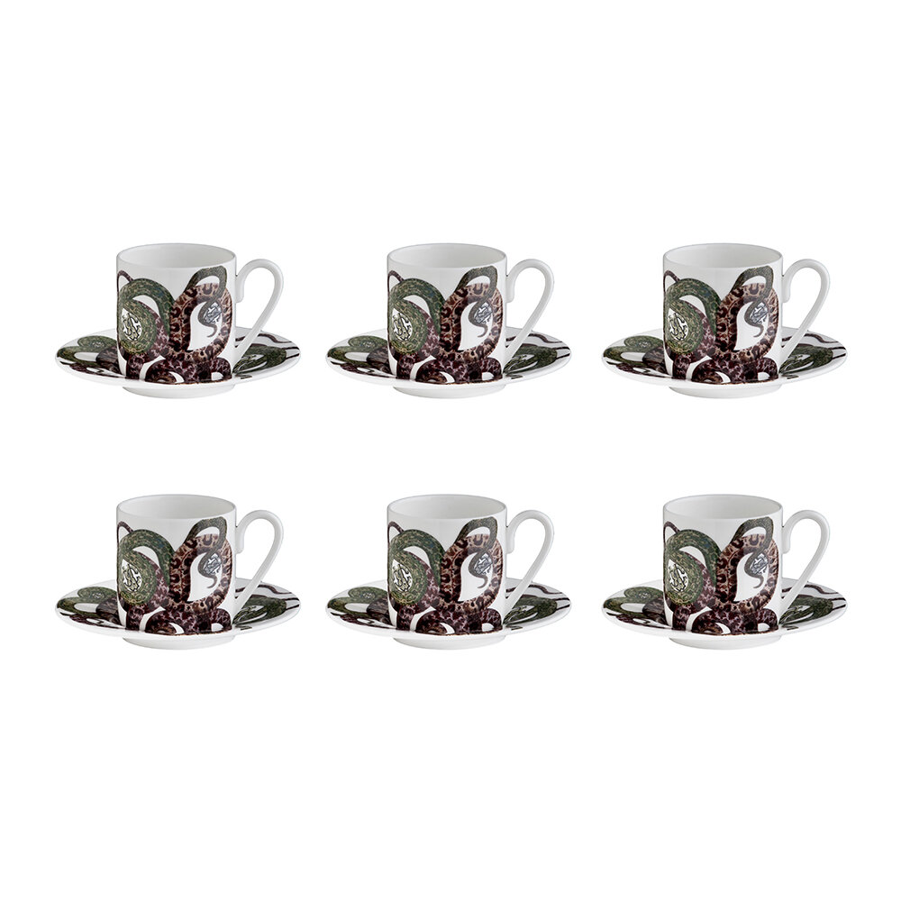 Roberto Cavalli - Snakes Tazza Coffee Cup and Saucer - Set of 6
