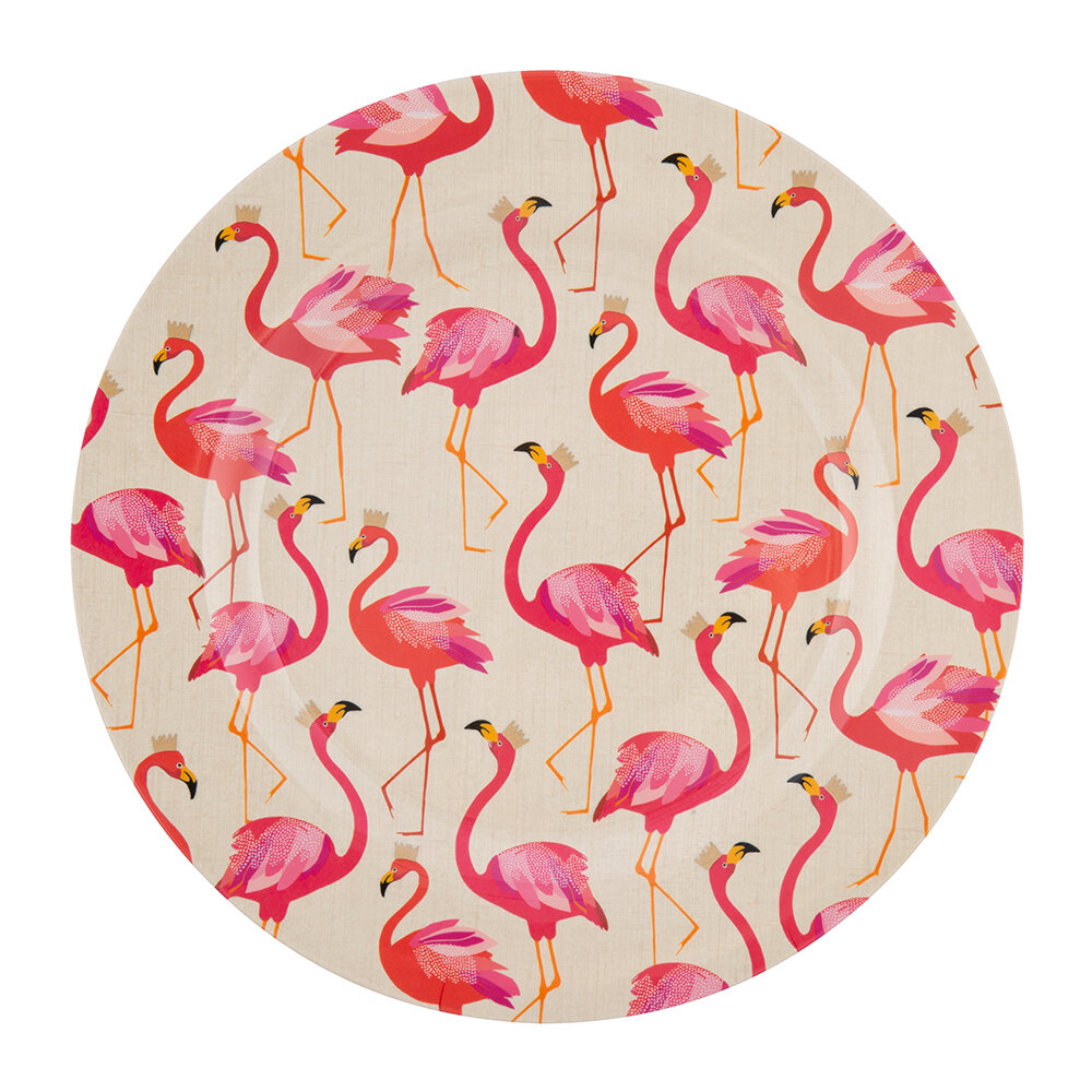 Sara Miller - Flamingo Collection Melamine Plate - Set of 4 - Dinner Plate - 28cm