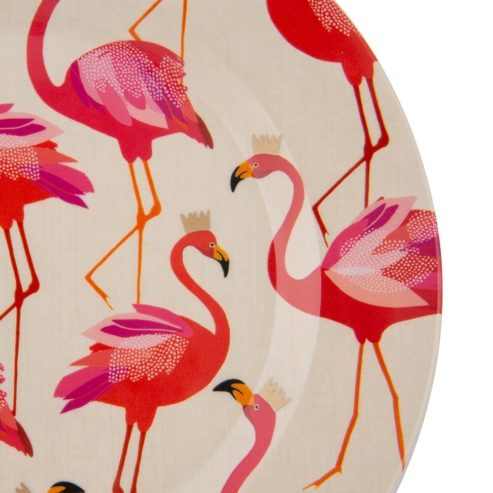 Sara Miller - Flamingo Collection Melamine Plate - Set of 4 - Side Plate - 20cm