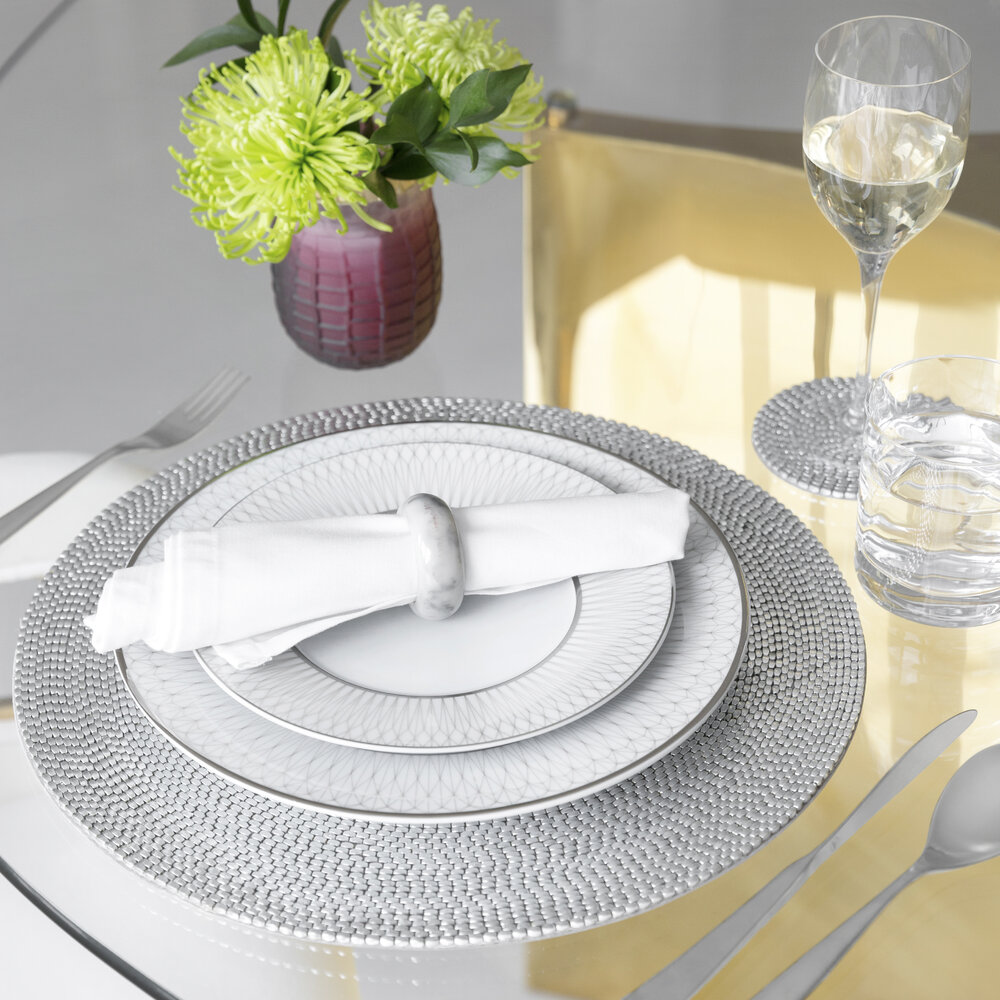 A by AMARA - Woven Beaded Placemat - Set of 2 - Silver