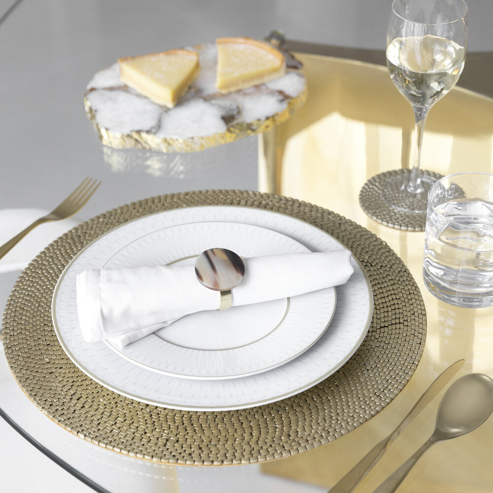 A by AMARA - Woven Beaded Placemat - Set of 2 - Gold