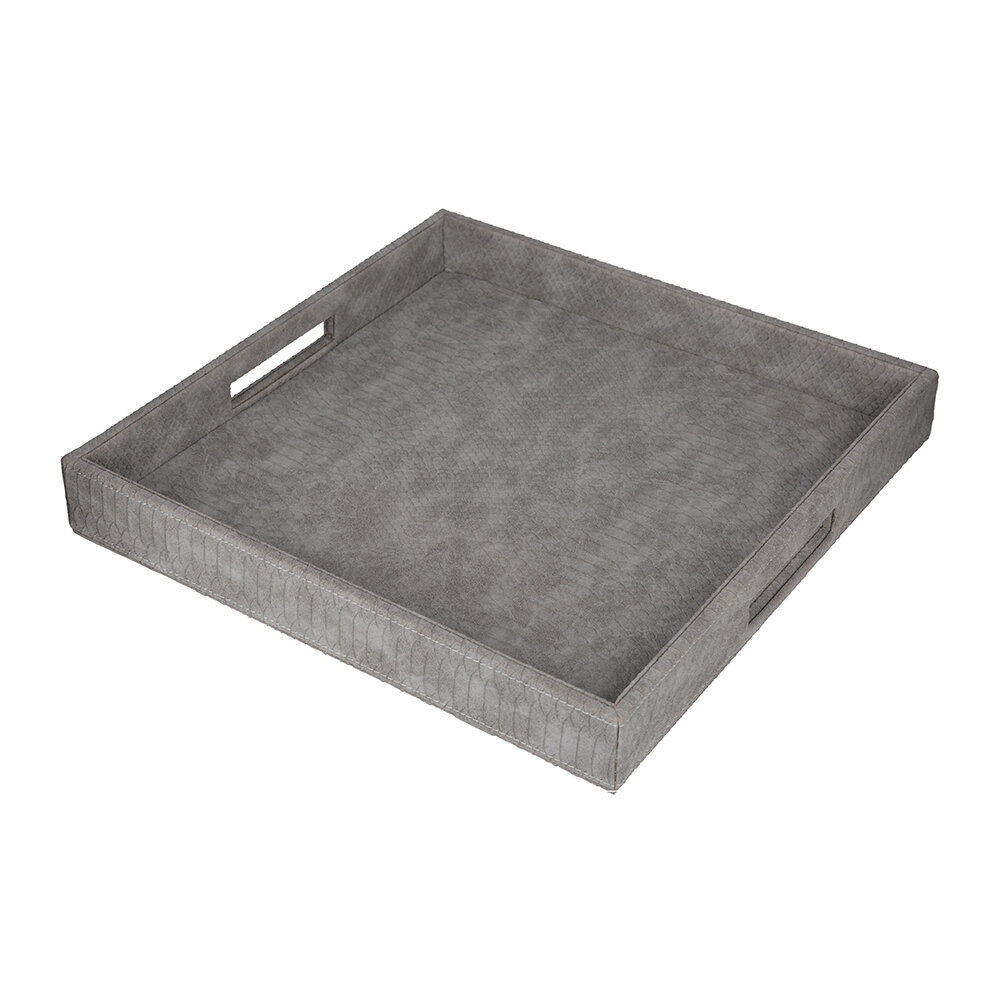 Luxe - Faux Leather Tray - Gray Croc