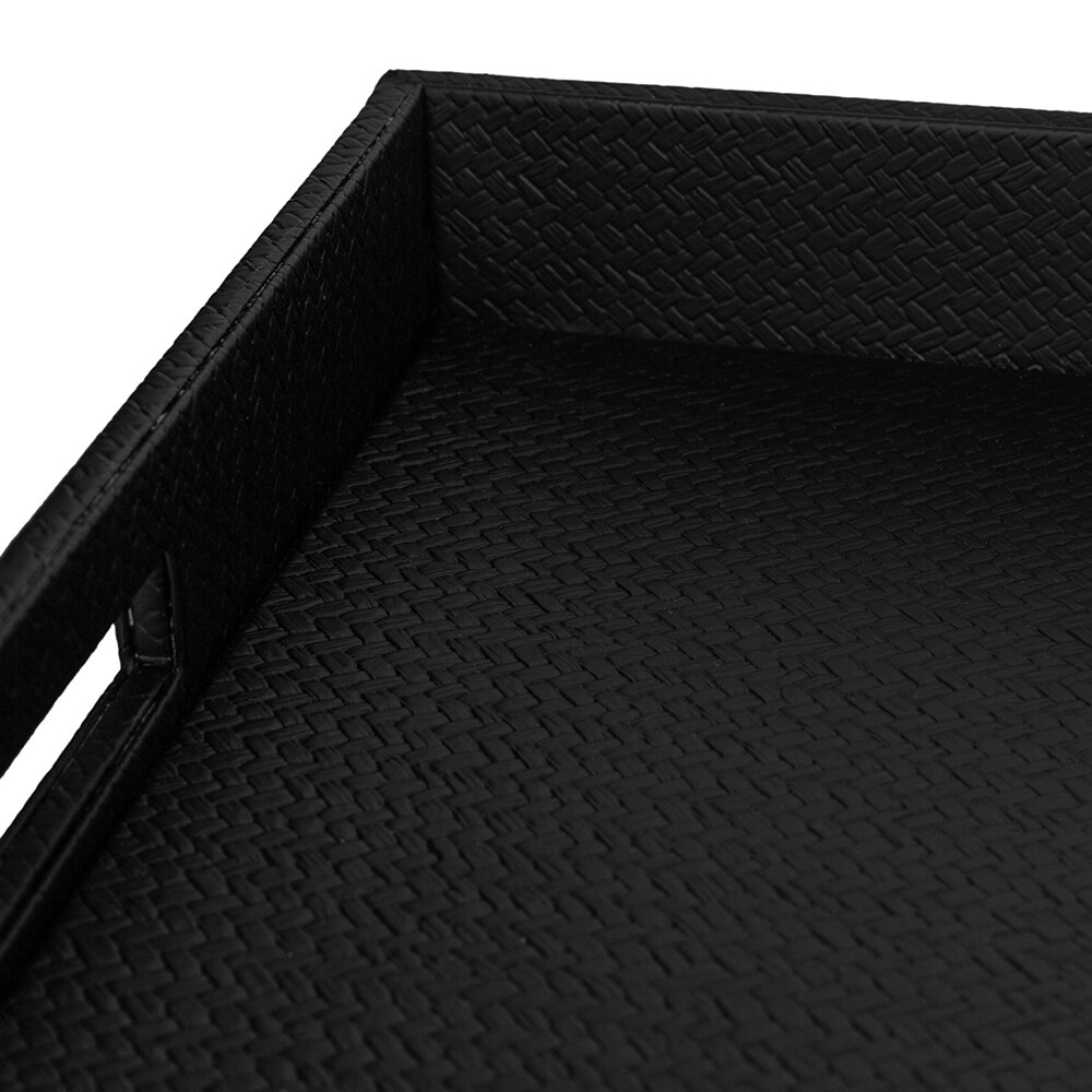 Luxe - Faux Leather Tray - Black Weave