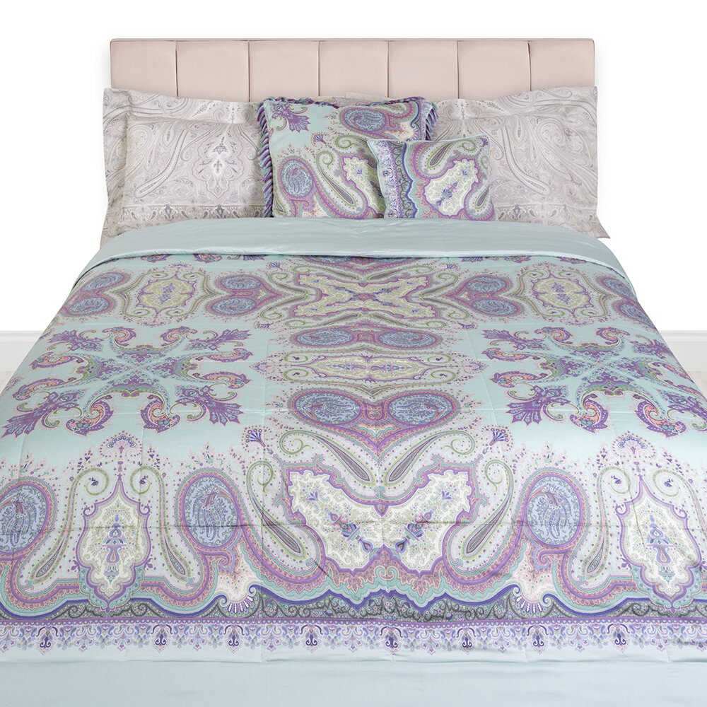 Etro - Pertuis Aigues Panel Quilted Bedcover - 270x270cm - Green