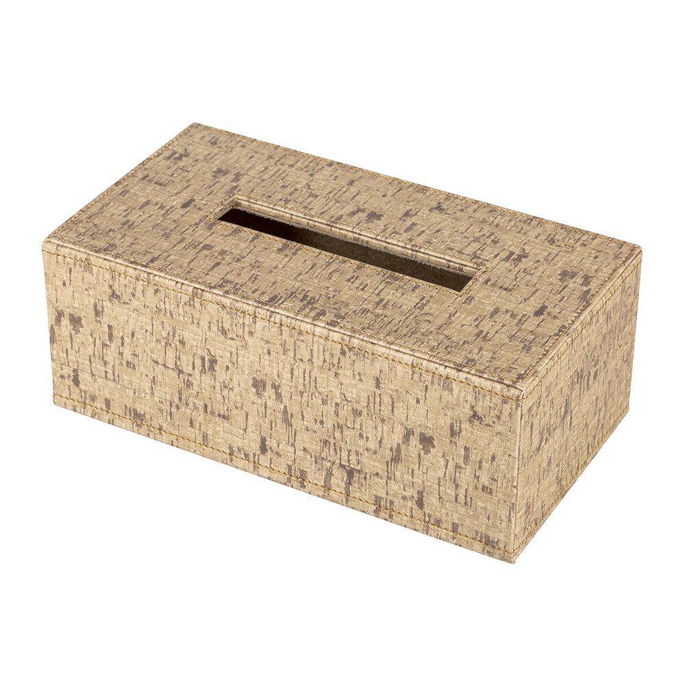 Luxe - Faux Leather Tissue Box - Cork Effect