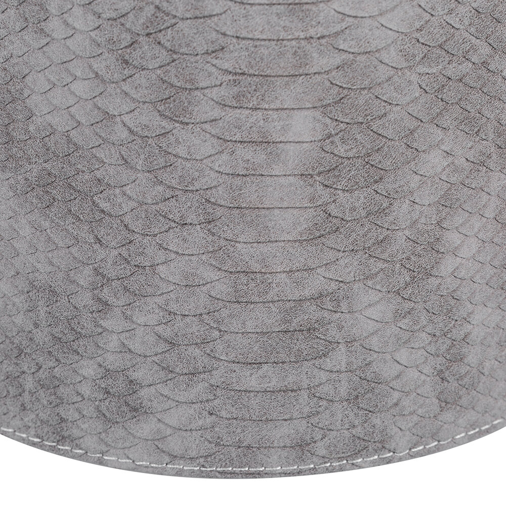 Luxe - Round Faux Leather Waste Bin - Gray Croc