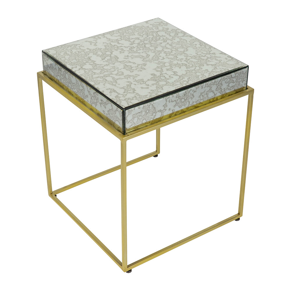 Luxe - Antique Mirror Top Square Side Table