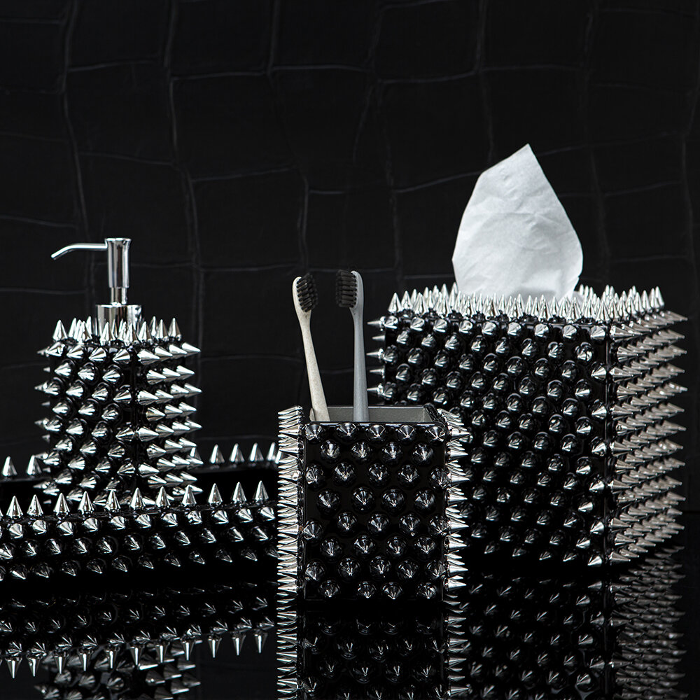 Mike + Ally - Spikes Soap Dispenser - Silver/Black