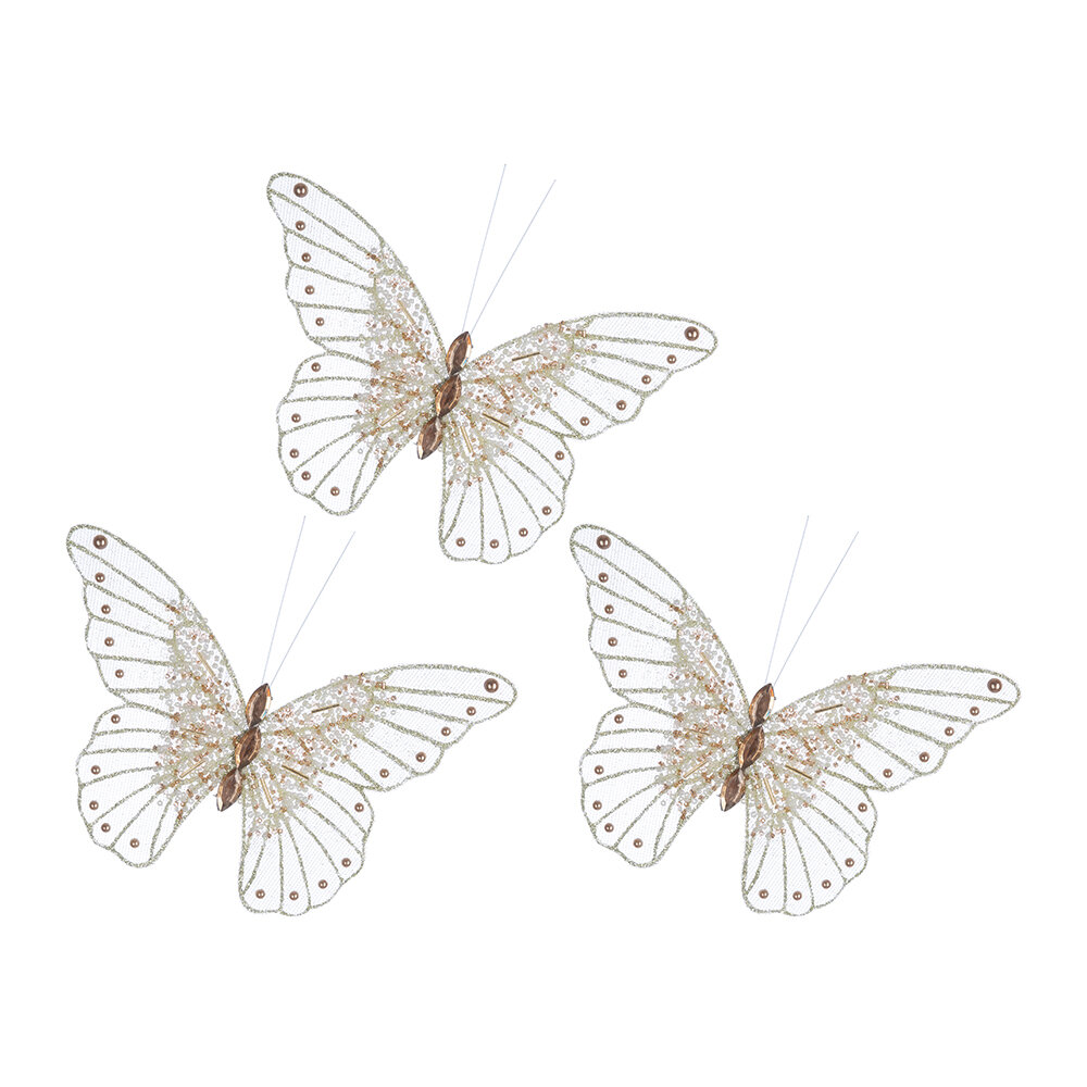 Image of A by AMARA Christmas - Bead Butterfly Clip Decorationet of 3