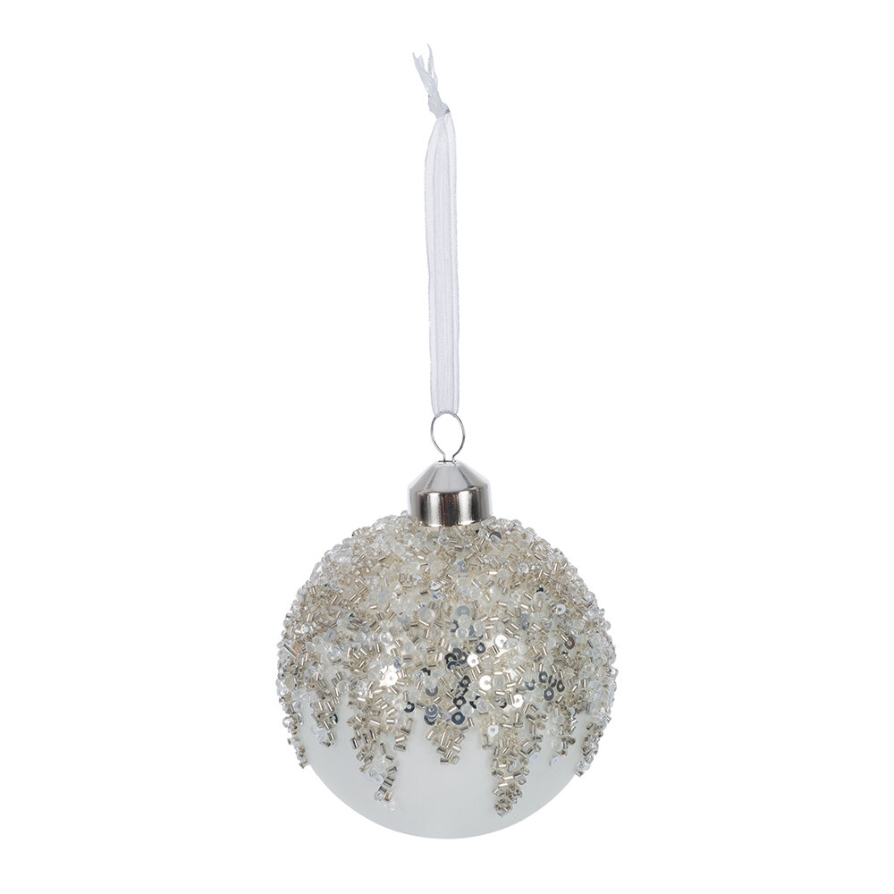 A by AMARA - Beaded Ice Baubles - Set of 12 - White/Silver