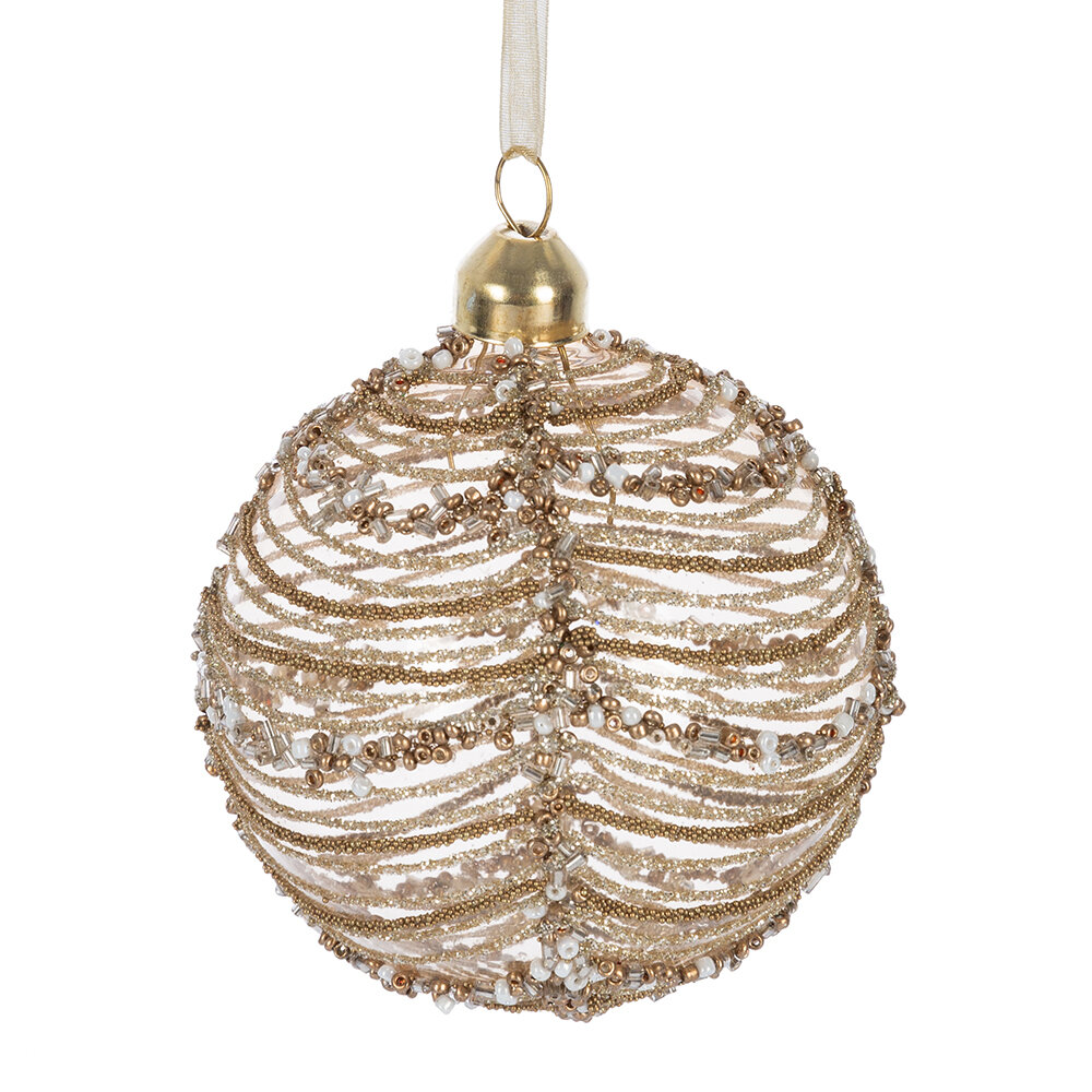 A by Amara Christmas - Beaded Stripe Decorative Bauble - Set of 12 - Light Gold