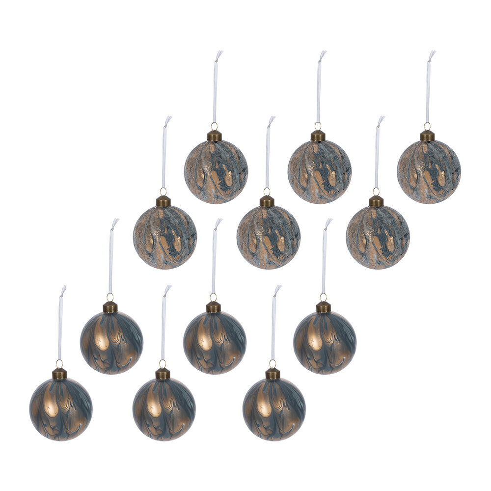 A by AMARA - Abstract Decorative Bauble - Set of 12 - Blue