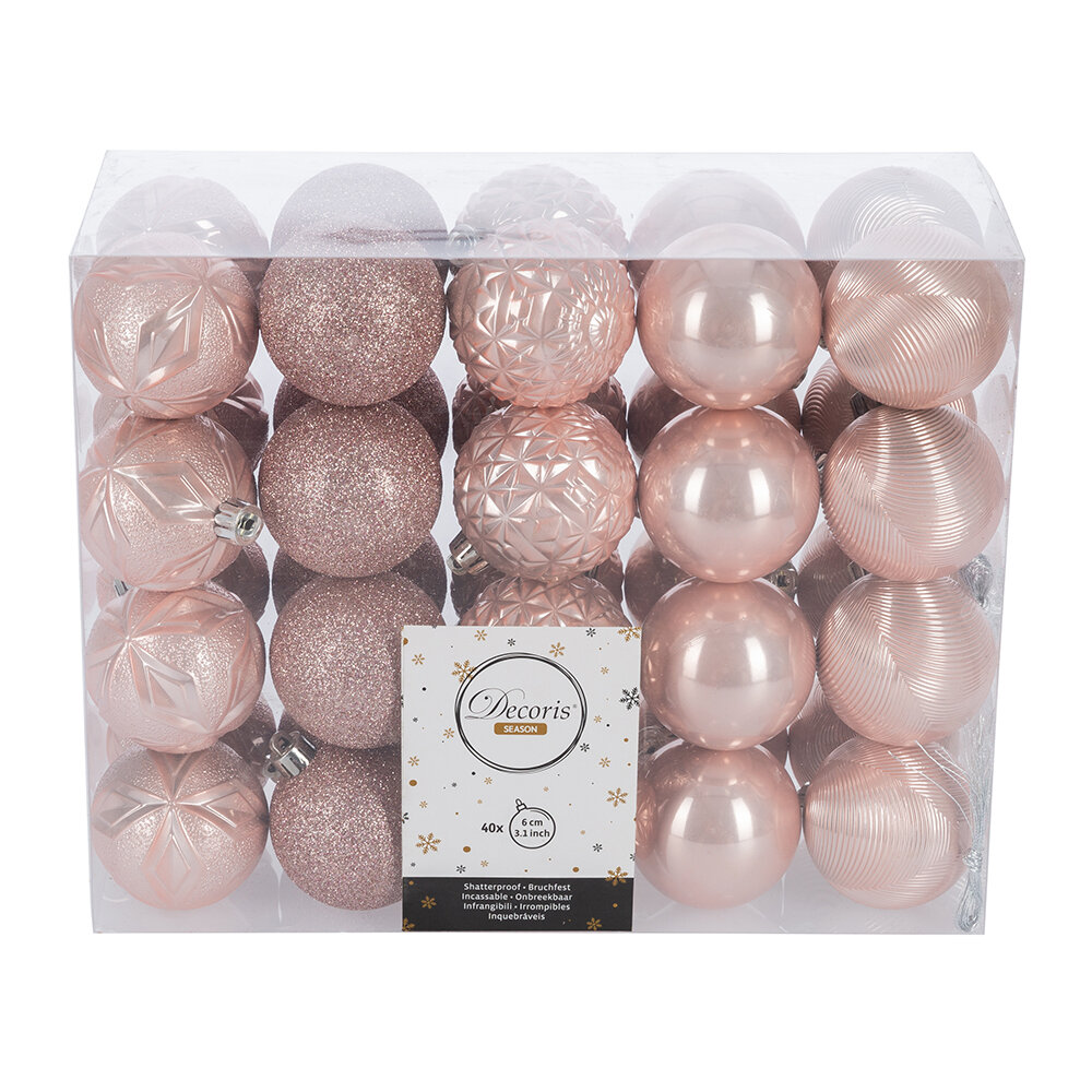 A by AMARA Christmas - Set of 40 Assorted Baubles - Blush Pink