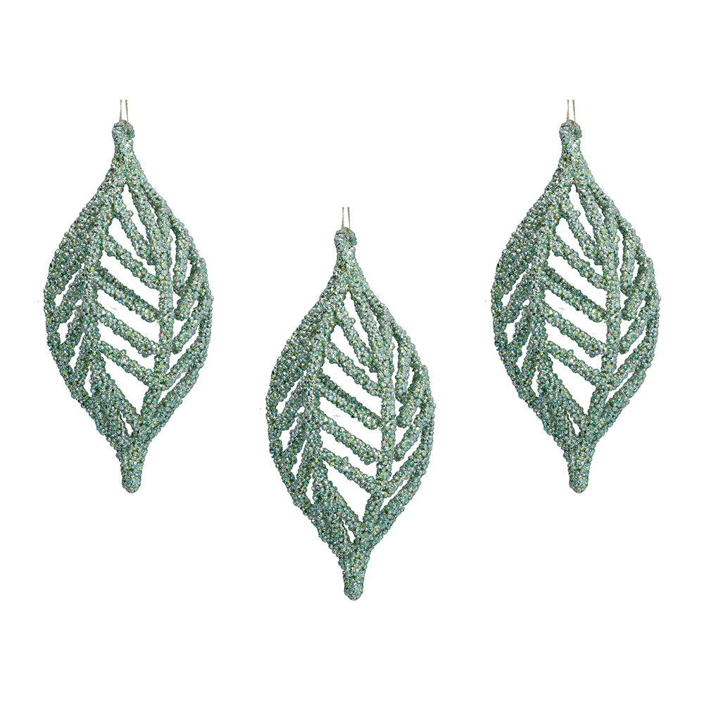 Gisela Graham - Beaded Olive Tree Decoration - Set of 3 - Pale Green