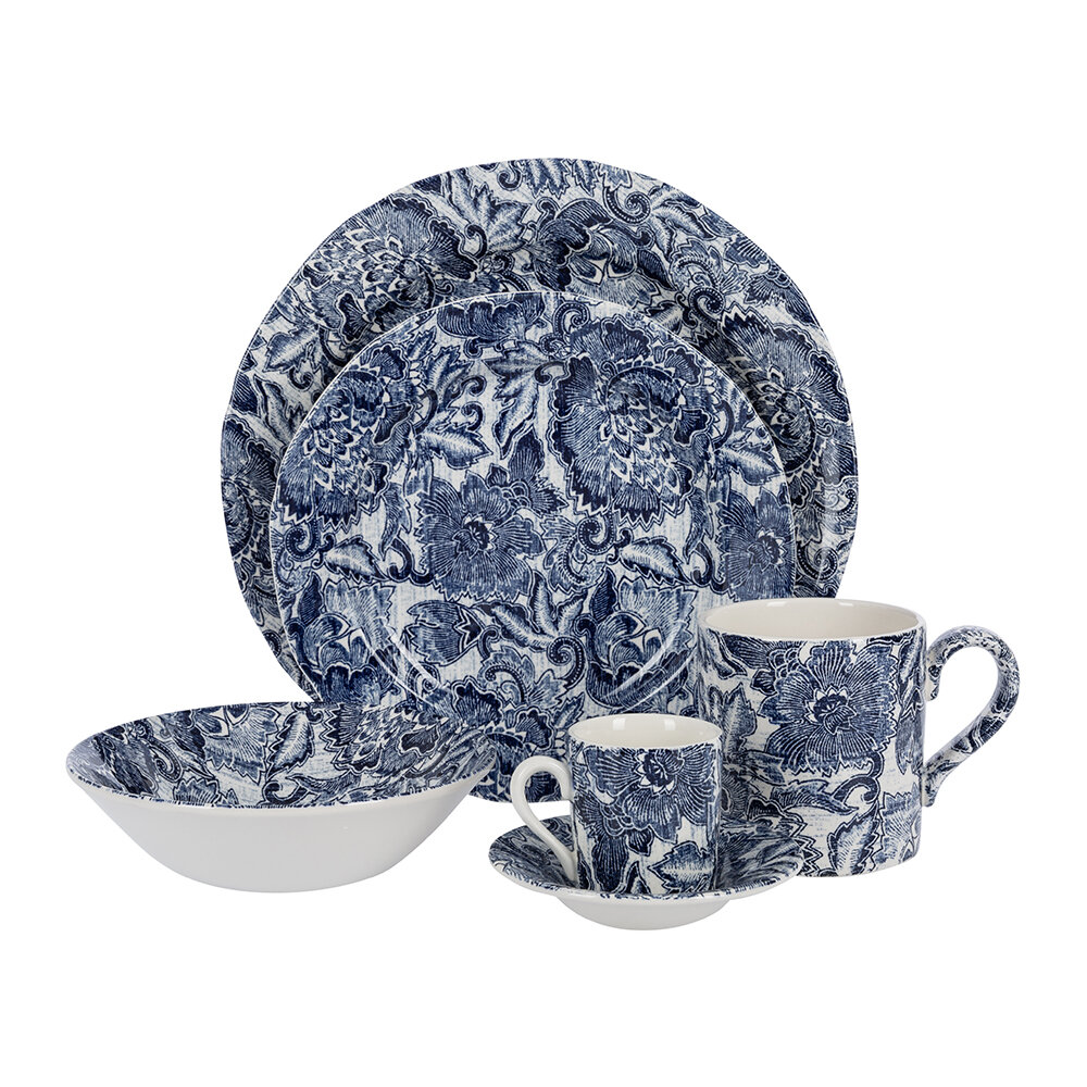 Ralph Lauren Home - Faded Peony Espresso Cup and Saucer - Indigo