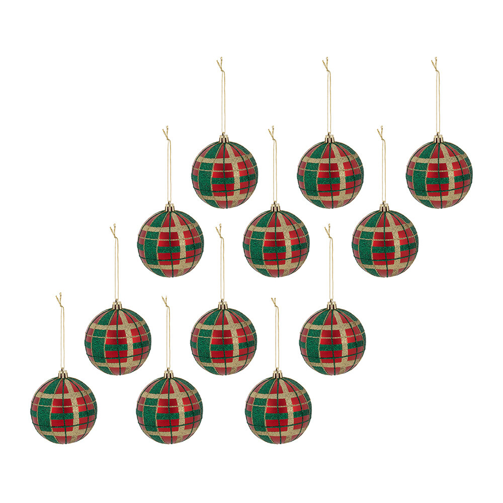 A by AMARA Christmas - Tartan Baubles - Set of 12 - Christmas Red