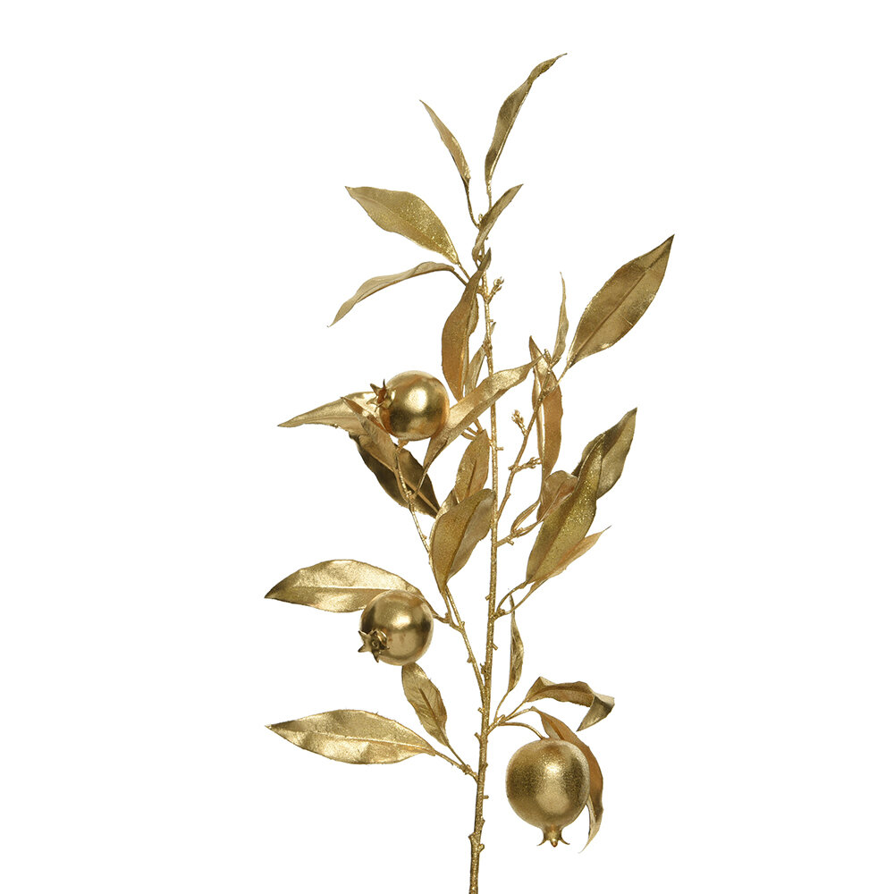 Image of A by AMARA Christmas - Artificial Pomegranate Spray - Gold