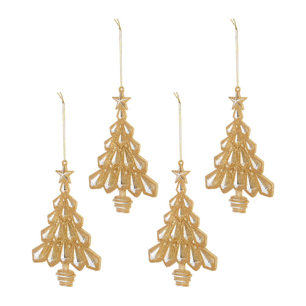 Image of A by AMARA Christmas - Glitter Trees Tree Decorationet of 4 - Gold