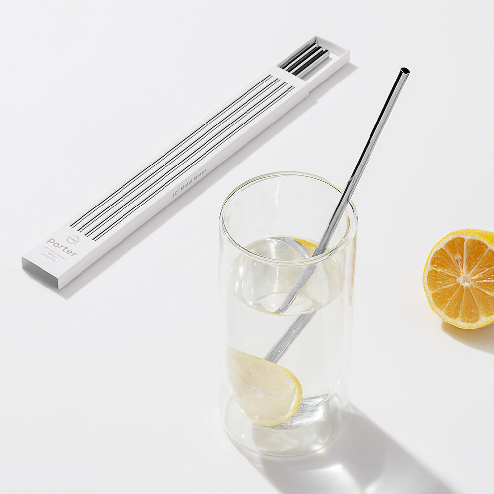 W&P - Metal Straws with Cleaner - Set of 4 - Silver