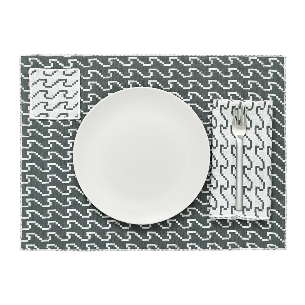 Areaware - Assorted Printed Placemats - Set of 4 - Gray & Yellow
