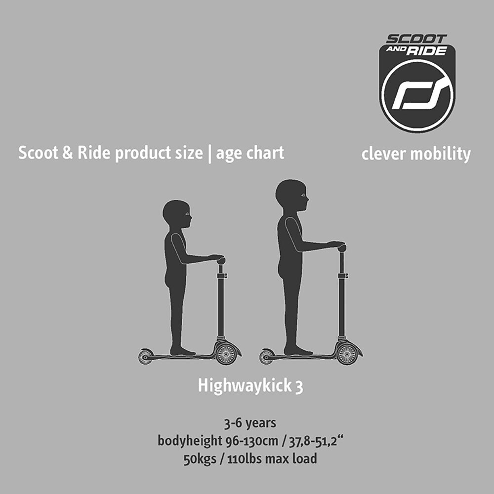Scoot and Ride - Highway Kick 3 LED - Ash