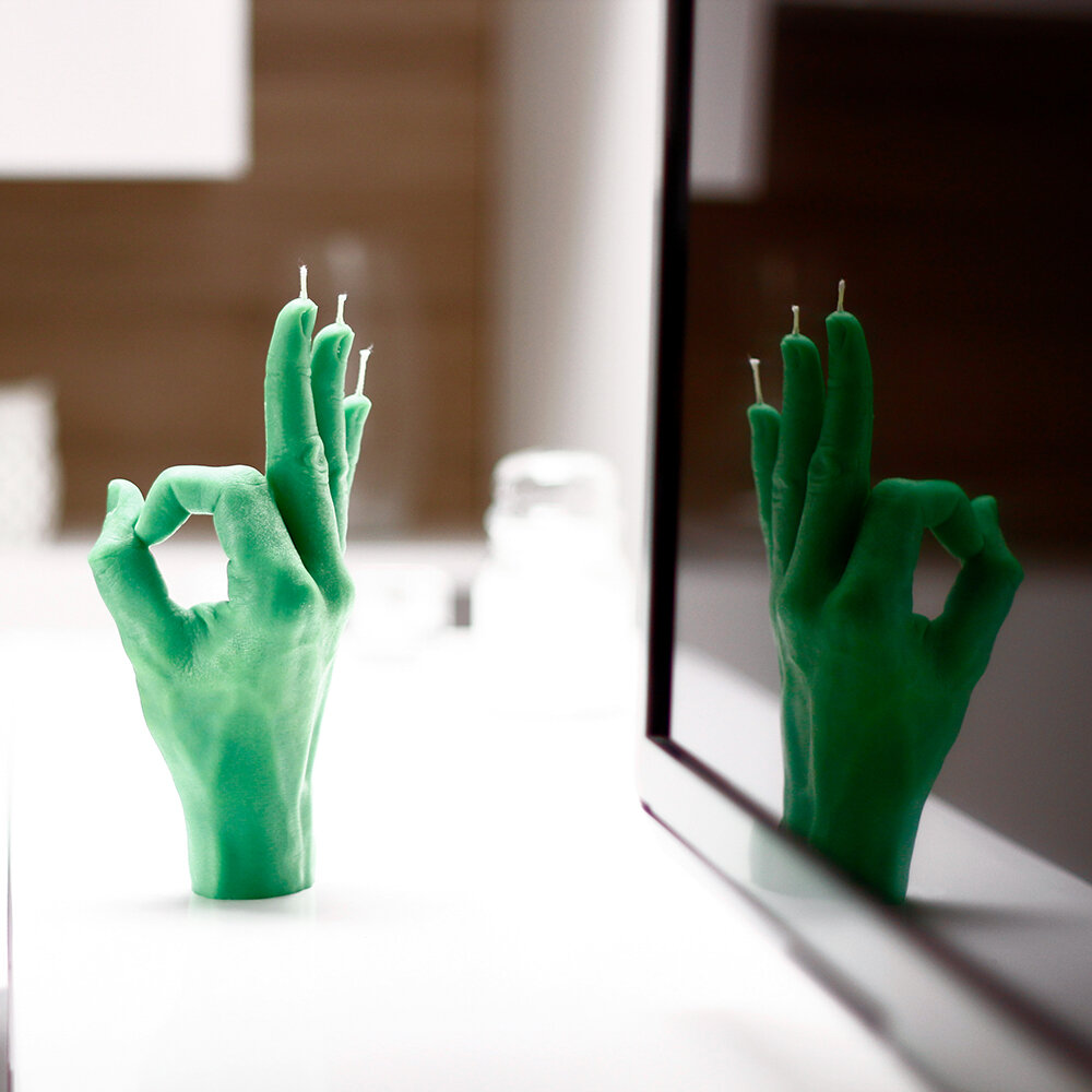 Candle Hands - 'OK' Candle - Green