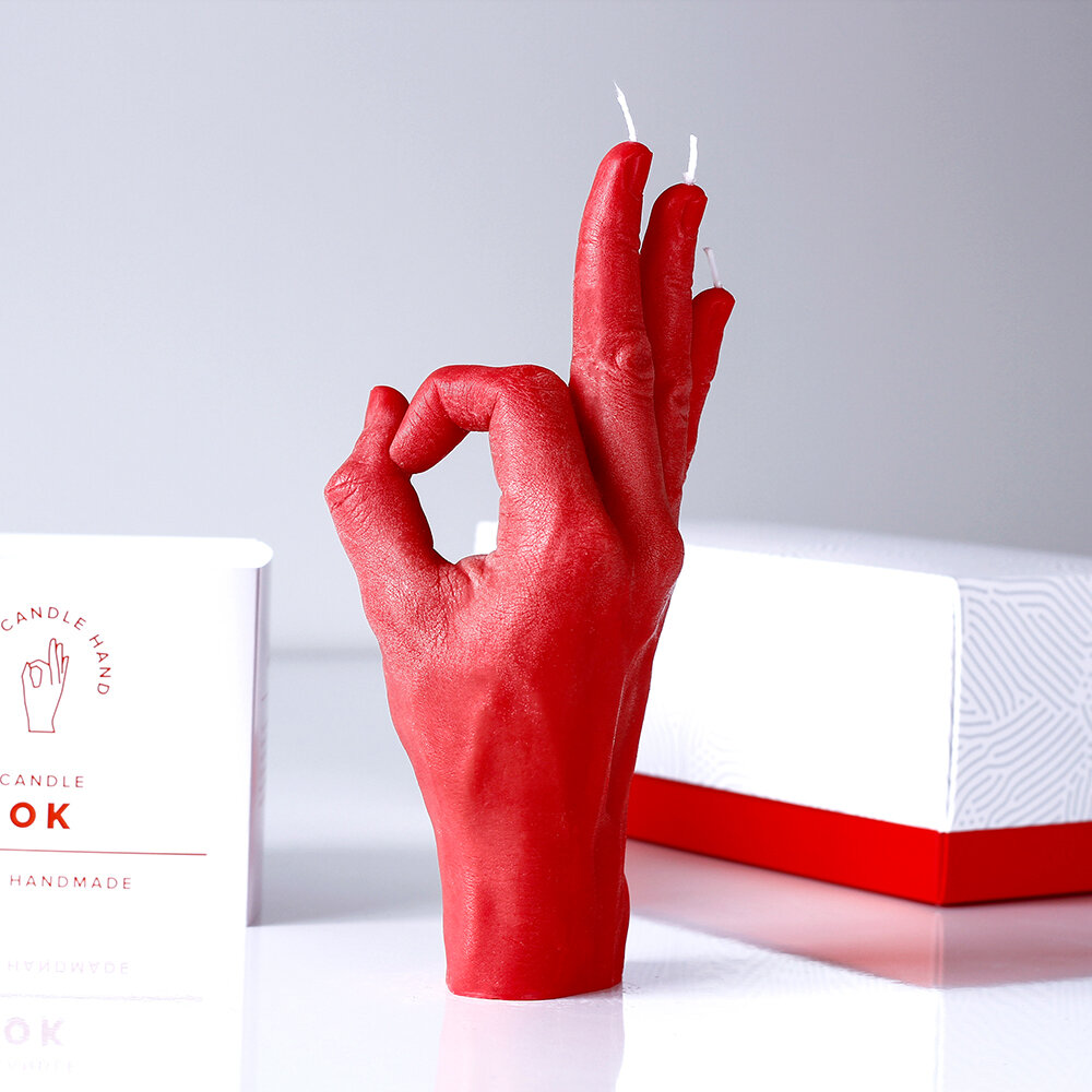 Candle Hands - Bougie « OK » - Rouge
