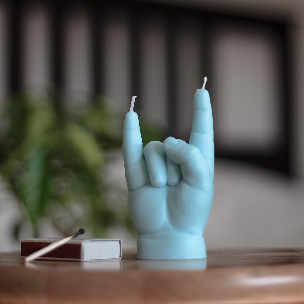 Candle Hands - Baby 'Rock You' Candle - Blue