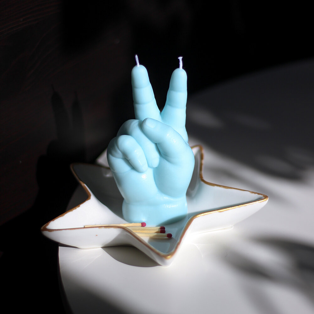Candle Hands - Baby 'Victory' Candle - Blue