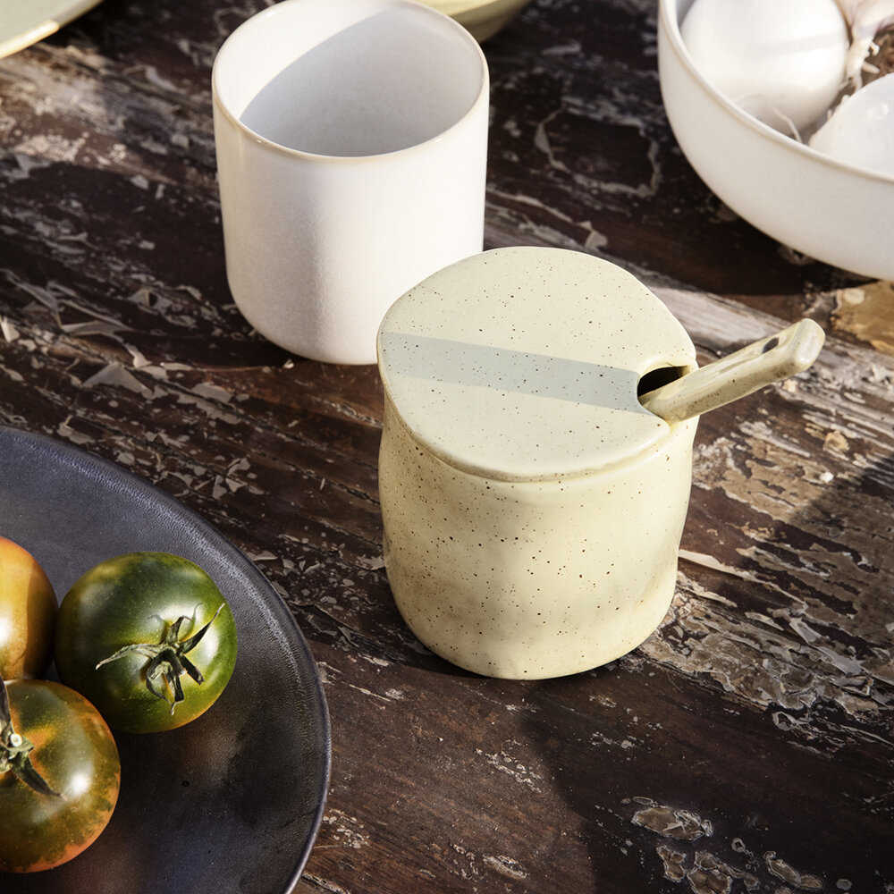 Ferm Living - Flow Jam Jar with Spoon - Yellow Speckle