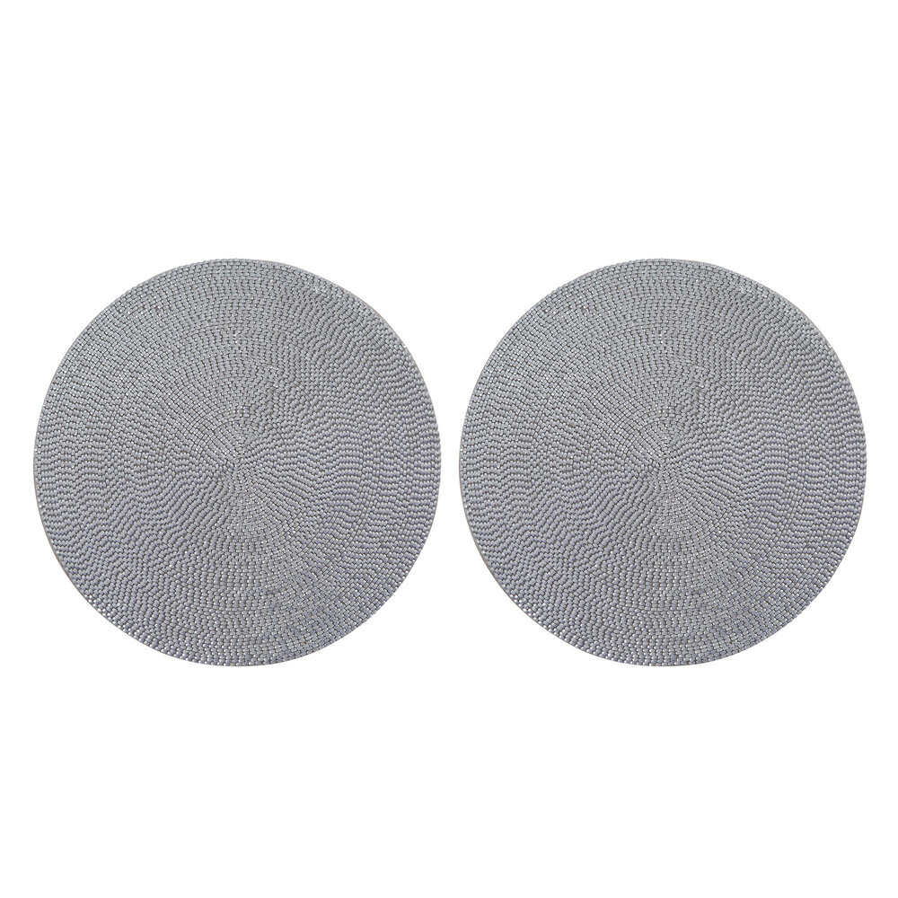 Luxe - Woven Beaded Placemat - Set of 2 - Silver