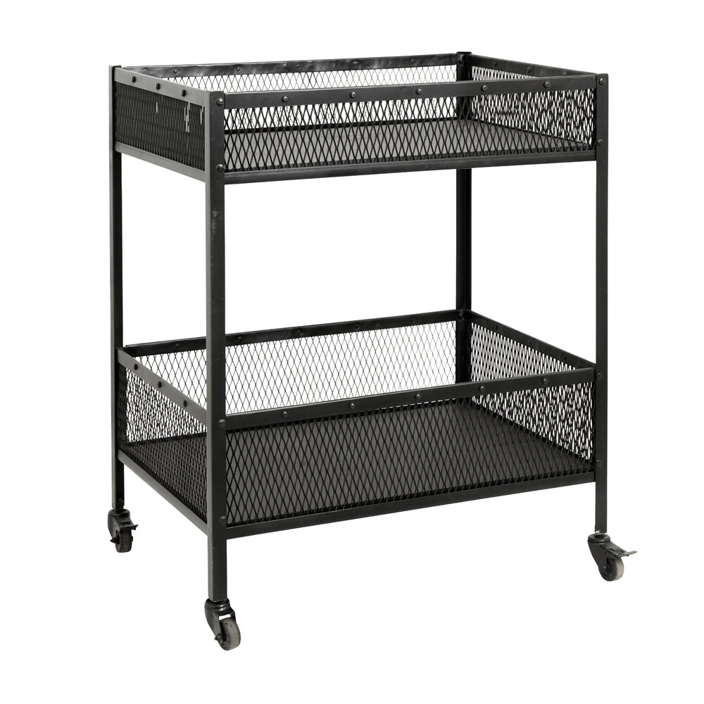 Nordal - Iron Trolley with Baskets - Black - Large