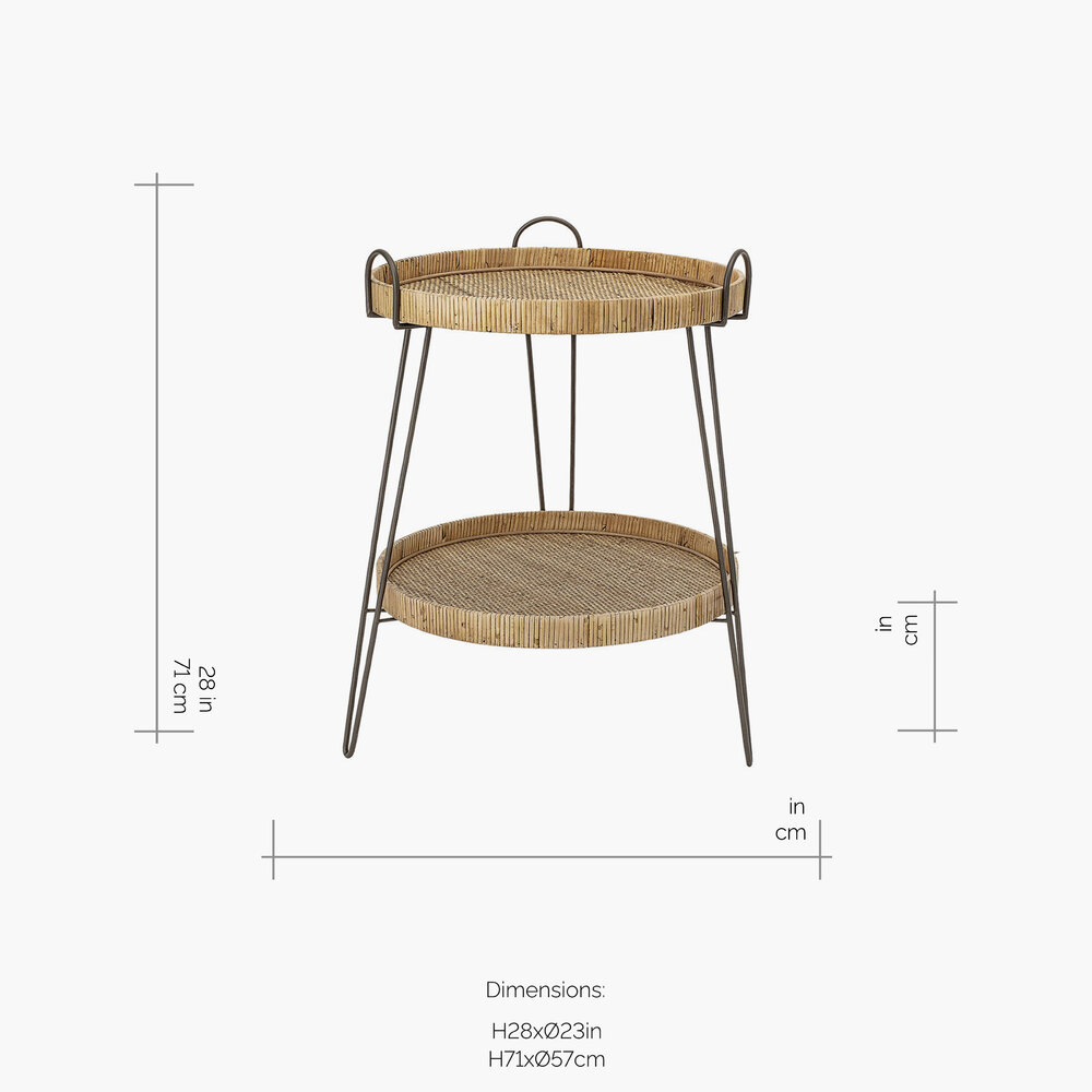 Bloomingville - Rattan Two Tier Sidetable - Natural