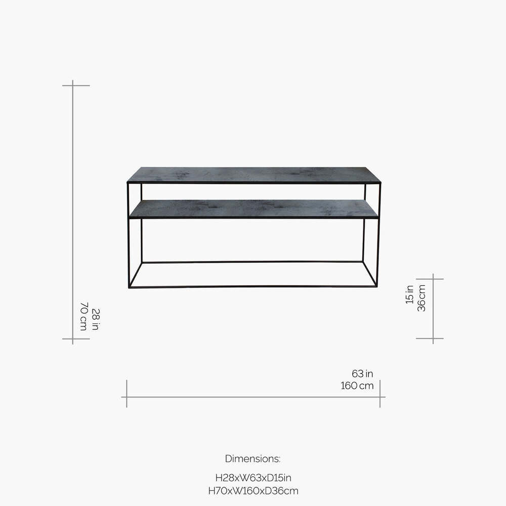 Ethnicraft - Heavy Aged Mirror Sofa Console - Charcoal