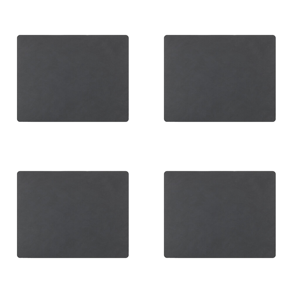 LIND DNA - Nupo Square Table Mat - Set of 4 - Anthracite