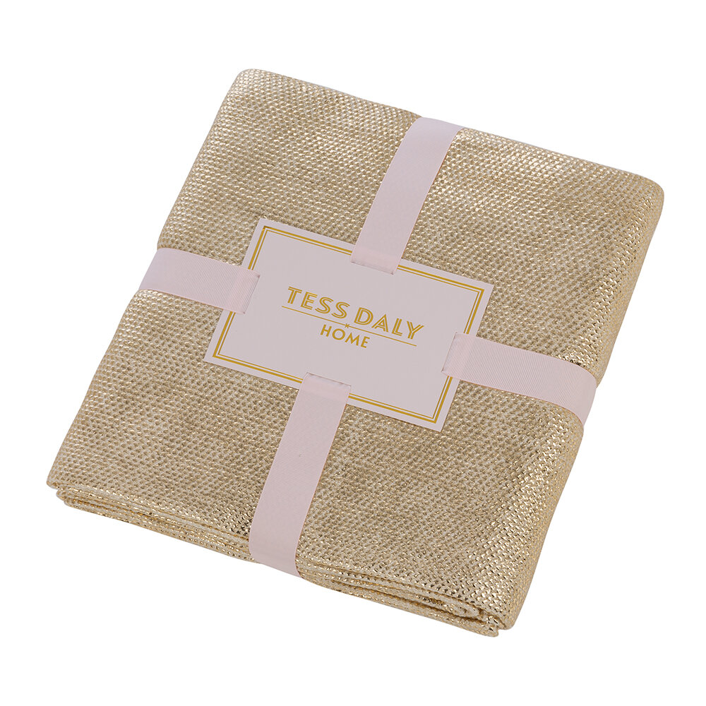 Tess Daly - Knit Throw - Gold