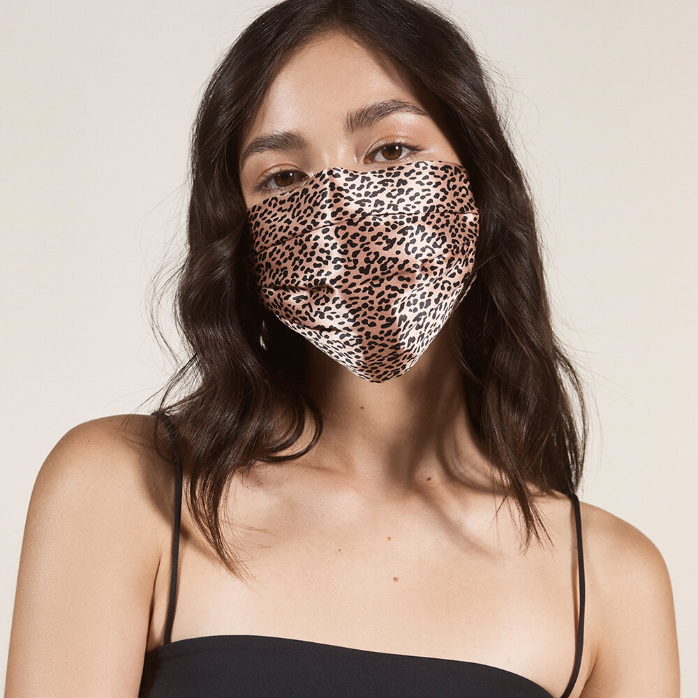 Slip - Silk Re-Usable Face Covering - Rose Gold Leopard