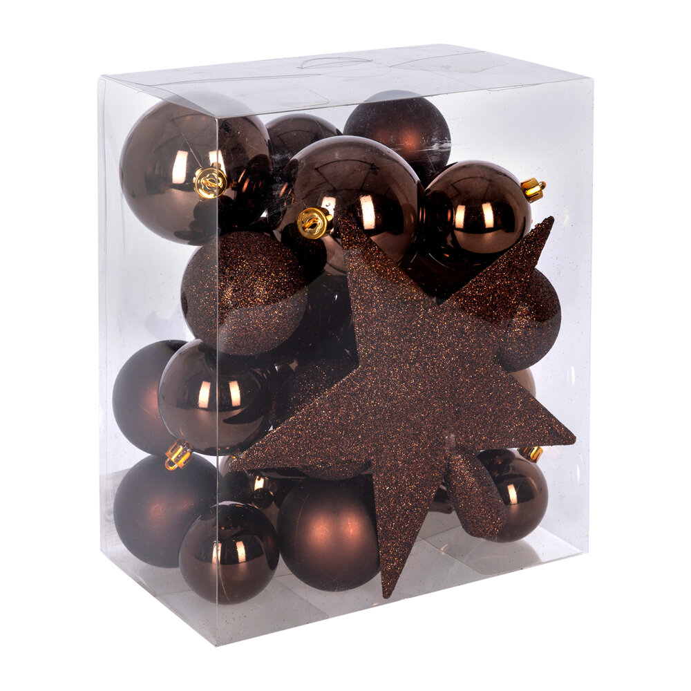 A by AMARA Christmas - Set of 33 Assorted Baubles and Tree Topper - Dark Brown