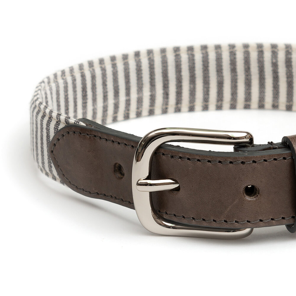 Mutts & Hounds - Charcoal Stripe/Charcoal Leather Collar - Medium