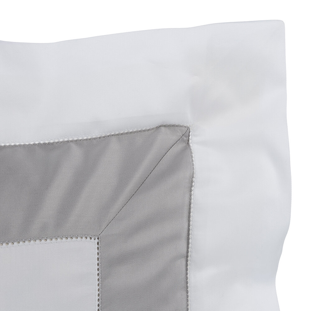 Frette - Bicolore Pillowcase - White/Gray - 30x40cm