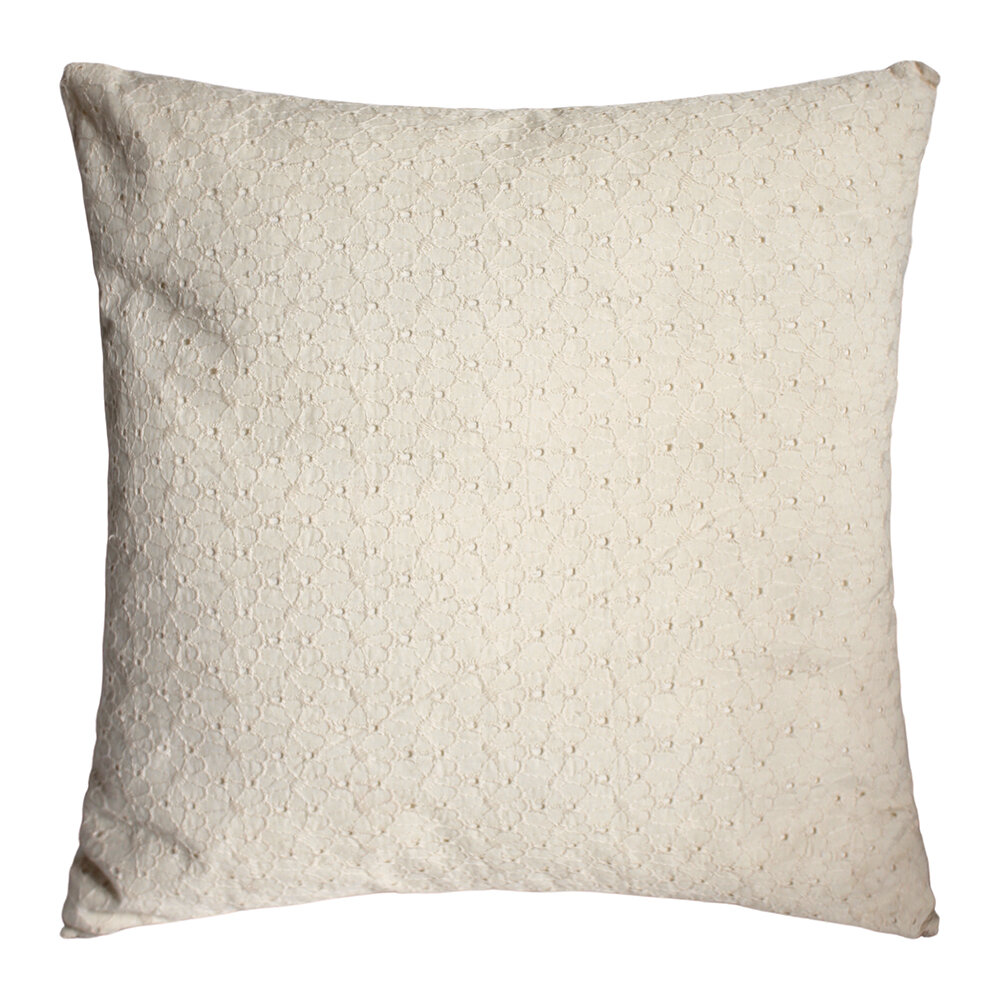 À la - Daisy Embroidered Cushion with Fringe - White