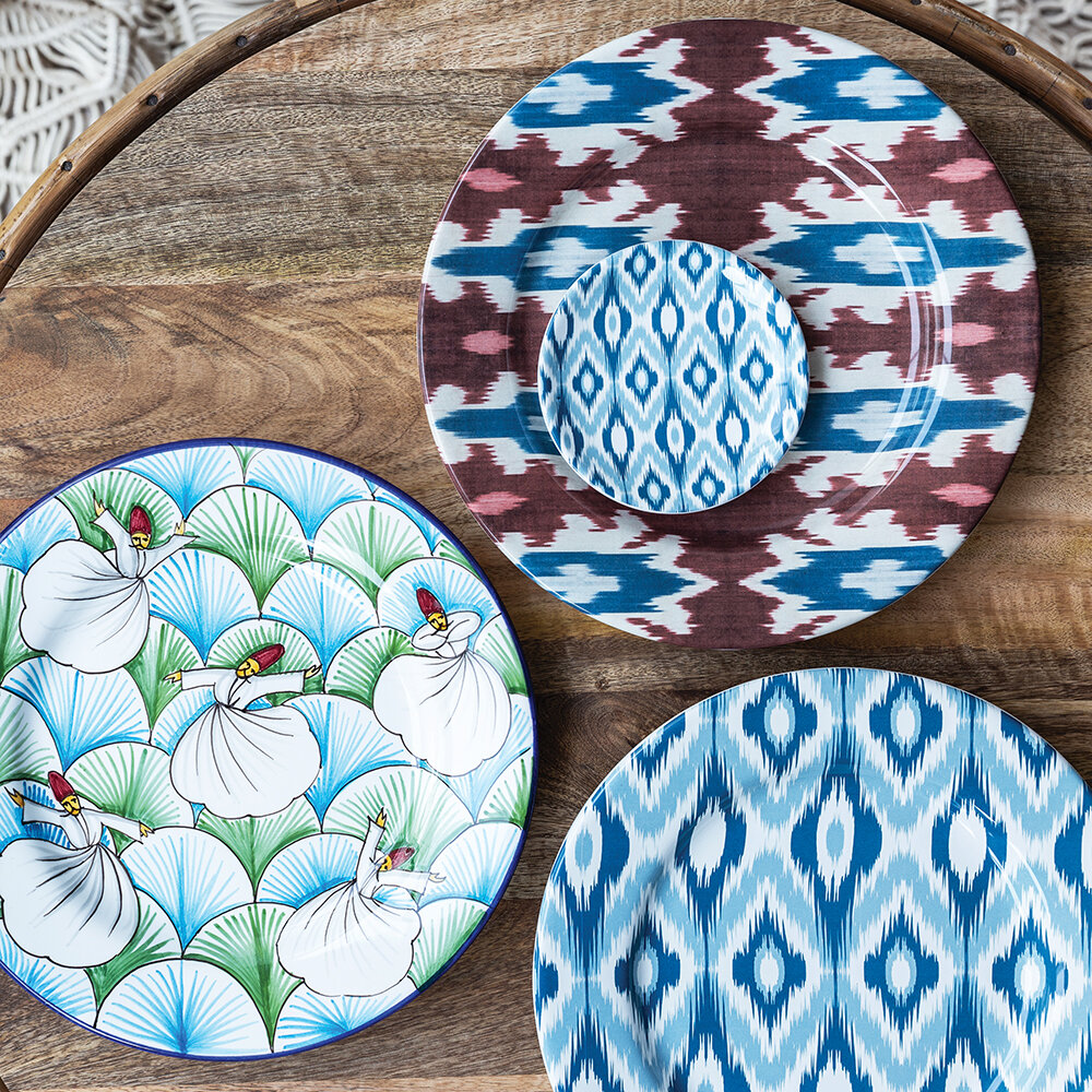 Les Ottomans - Derviches Hand Painted Ceramic Plate - Green/Blue